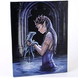Dragóndeagua(Water Dragon) -unhadagóticoconsubebédragón-diseñofantásticoporartistaAnneStokes–lienzocuadromarcoparedplaca/artedepared