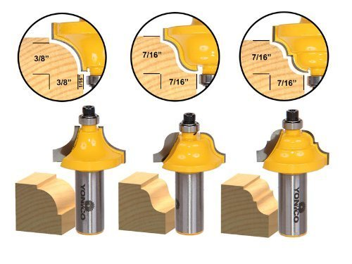 Yonico 13321 3 Bit Edge Molding Router Bit Set with Medium Designer 1/2-Inch Shank by Precision Bits.com - Molding Router Bit Set