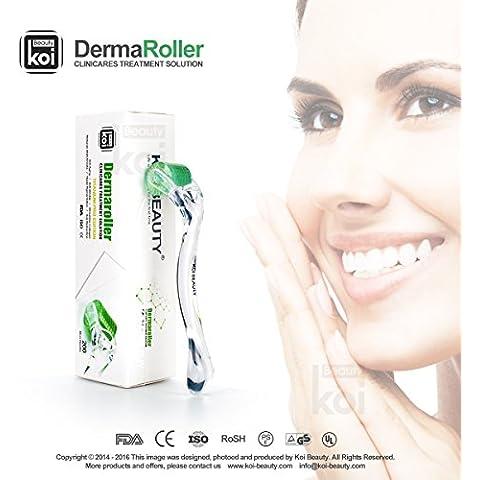 Koi Beauty 200 Microagujas Rodillo Rollo Titanio de 1,5mm para Piel Problema Microneedle Derma Roller Medical Derma Roller Titanium System for Wrinkles Scar Acne Cellulite Treatment