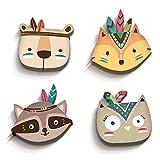 luvel® (M2) - 4er-Set Süße, Bunte Indianer Tierköpfe in 3D-EFFEKT 17,5 x 16,5 cm als Wandtattoo Kinderzimmer und Kinderzimmer Deko - 10mm Kunststoff