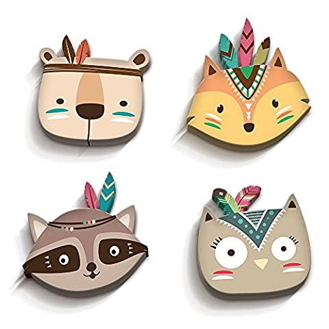 luvel - 3D-Wall decoration for child's room Baby Nursery, Kids Playroom Set of 4 (M2) *** NEW *** - Sweet Colorful indian animal heads with 3D effect in TOP quality / 10mm thick boards - MADE IN GERMANY