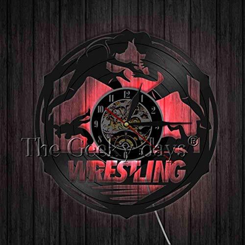 TPFEI Wrestling Wanddekoration modernes Design Schallplatte Wanduhr 3D Wandkarten Dekoration Wrestling Liebhaber einzigartiges Geschenk