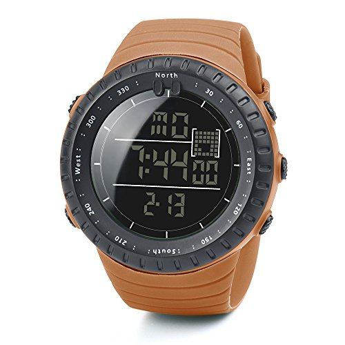 Orange G-string (DOLDOA herrenuhr Edelstahl Fashion Black Sports Rubber Band Herren Digital Army Military Quarz-Armbanduhr (Orange))