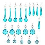H & D 20Stück blau Glas Kronleuchter Prismen Tropfenform Kristall Teile Einhängen Glas Kristall Anhänger Perlen Set