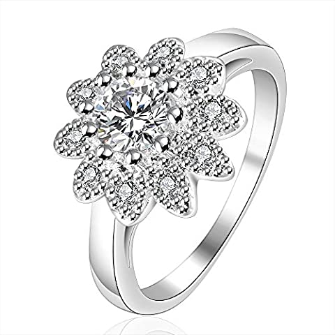 Lianjie White Gold Flower Princess Rings for Wedding Eternity Affection (8)