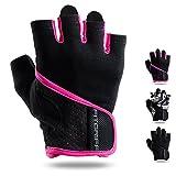 Fitgriff Fitness Handschuhe für Damen und Herren - leichte Trainingshandschuhe ohne Handgelenkstütze für Krafttraining, Bodybuilding, Gewichtheben & Crossfit Training (Pink, XS)