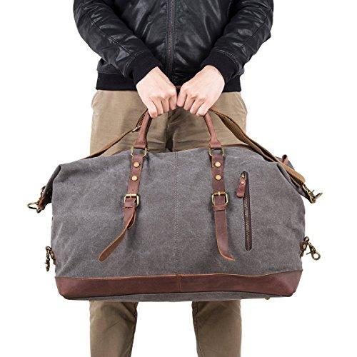 BAOSHA Vintage Segeltuch Canvas PU Leder Unisex Handgepäck Reisetasche Sporttasche Weekender Tasche für Kurze Reise am Wochenend Urlaub Arbeitstasche 40 Liter Aktualisiert (Schwarz) Schwarz
