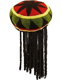 Henbrandt Unisex Rasta-Mütze mit Haaren