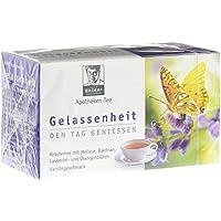 BADERs Apotheken-Tee Gelassenheit Lavendel Baldrian Melisse. Den Tag genießen, in der Nacht gut schlafen. Enthält ausgewählte Kräuter wie Orangenblüten, Melisse, Baldrian, Kamille, Fenchel, Lavendelblüten und Passionsblume.Vegan. Glutenfrei. Pharmazentralnummer: 09738486
