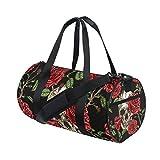 MyDaily Turnbeutel Sporttasche Totenkopf mit Rose Blume Vintage Reisetasche für Damen und Herren