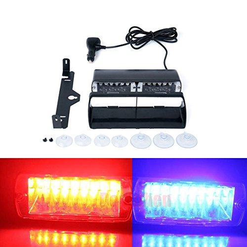 16 LED de voiture de police Strobe Flash Light Dash d'urgence avertissement clignotant haute intensité 18 W 16 COB Dash pare-brise d'urgence Flash stroboscopique lumière Ambre
