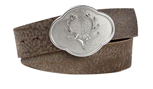 Echtleder Gürtel; Trachtengürtel; Hirschkopf; braun; Vintage-Leder