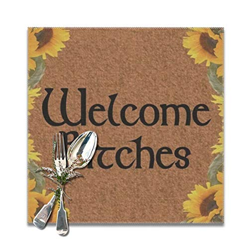 ches Yellow Sunflower Alphabet Theme Black Brown Table Mats: Heat Stain and High Temperature Resistant; Anti-Skid Washable Non-Slip for Kitchen and Dining ,Set of 6,12x12 inch ()