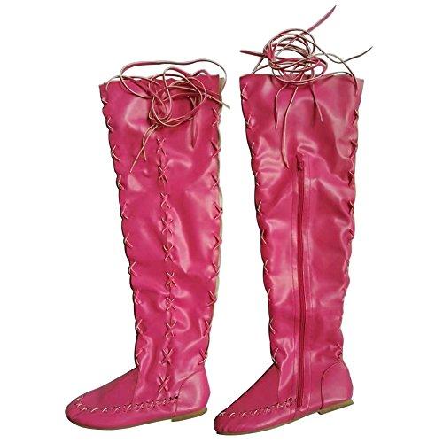 Dimensione Avvio Pelle Ampia 41 Wealsex Scarpa Donna 43 Morbida Comfort Rosa Lacci Vitello Hanno 40 Piatto Invernale 42 Autunno Coscia q8n0dEawd