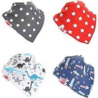 Zippy Fun - Bavaglino a bandana iper assorbente, 100% cotone, con strap regolabile (pacco da 4) motivo: ragazzi uptown