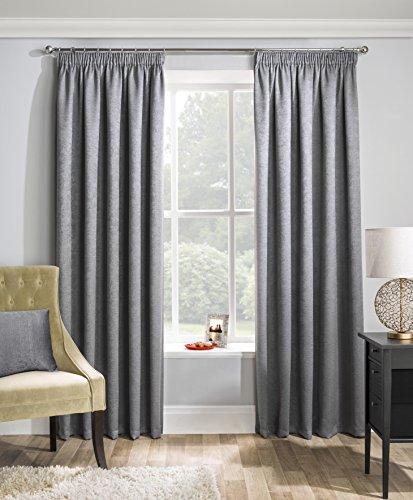 Matrix Vorhangpaar in Grau, strukturiert Thermo-Verdunkelungsvorhang mit Faltenband, Polyester, grau, 229 x 183 cm