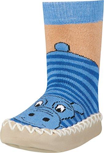 Playshoes Kinder Unisex Hüttenschuhe Nilpferd Knöchelsocken, Blau (7 blau ), 19 (Größe 19/22)