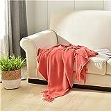 Decke super weich und warm Wohnzimmer für Sofa und Couch Tages Klimaanlage Decke Leicht für Couch Bett Einfache Decke Wolle Strickdecke rosa 130 * 200cm