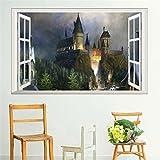 JMHWALL 3D-Fenster Zaubererwelt Schule Wand Aufkleber für Kinder Zimmer Wohnzimmer Einrichtung Kunst diy Wandtattoos, L 60 X 90 cm.
