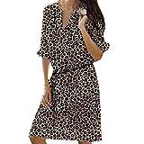 AIni Damen Sexy Loose Print Hlaf Mini Kleid Sommerkleid Abendkleider BeiläUfiges Kleid Festlich Hochzeit Partykleid