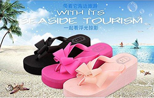 Gaorui pantoufles Femmes antidérapant Sandale Plat slip-on Mode Plate-Forme Coin Talon Chaussures Mules natation plage Noir