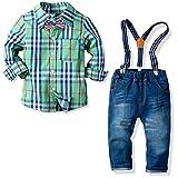 Nwada Bambini e Ragazzi Completi e Coordinati Abiti e Giacche Blazer Camicie e Giarrettiere Pantaloni Jeans Cravatta a Farfalla Set di Vestiti (Verde, 5-6 Anni)