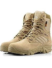 Botas para actividades al aire libre, para hombre, estilo militar, con cordones, transpirables, caña alta, cremallera lateral, piel,…