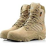Hombre Militar de Tactical Deportes al aire libre de senderismo trabajo Combat Lace Up High Top transpirable con cremallera en la parte del Desierto Zapatos De Cuero Botas De Bronceado Caqui, caqui