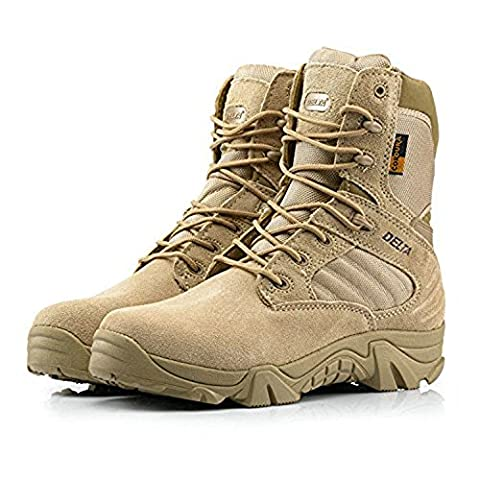 Men Military Army Tactical Outdoor Sports Camping Hiking Work Combat Lace Up Breathable High Top Side Zipper Desert Leather Shoes Boots DE Tan Khaki (UK8=EUR42=US9)