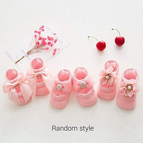 WOSOSYEYO Babysocken 0-24 Monate Kleinkind Mädchen Söckchen Lace Bow Tie Rüschen Trim rutschfeste Baumwolle Crew Socken - Crew Trim Fit Crew Socken