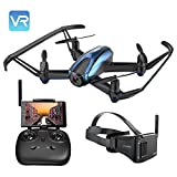 Potensic FPV Racing Drohne 5,8GHz mit VR-Brille, Racecopter mit Fernsteuerung, FPV-Bildschirm Drohne mit Kamera RC Quadcopter 720P HD Live-Video FPV 5-Zoll-Bildschirm-Monitor
