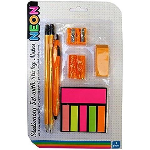 Paquete de Papelería con las Notas Adhesivas - Diseño de Neón - Naranja - 9 Pieza