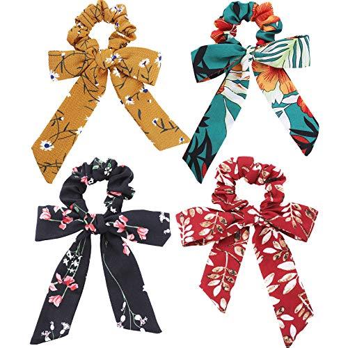 WELROG 4 Stücke Frauen Haar Haargummis Haar Krawatten Kopfverpackung Gummibänder Haar Zubehör (Mischen-5(Stil 2))