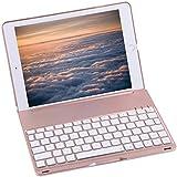 Bluetooth Keyboard Case For 2017 New iPad 9.7 inch , Durwyn® LED 7 Colors Backlit Wireless Bluetooth Keyboard , Back Hard Folio Case Cover , Ultra Slim ,Aluminium Alloy And Auto Sleep / Wake ( Rose Goid )