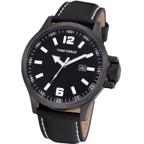 Montre Time Force de hommes étanche. Acier Bracelet de Cuir. Calendrier Noir. tf-3266m01