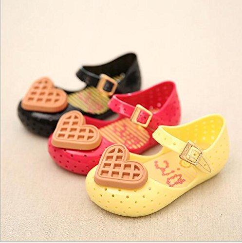 Ohmais Enfant bébé fille Flattie sandale été plat Flops Sandales imperméable en PVC Rouge