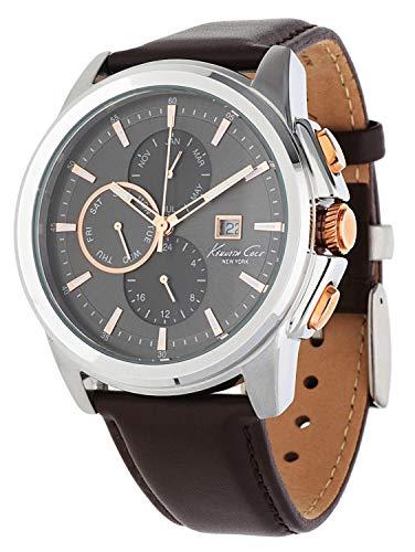 Kenneth Cole Herren Chronograph Quarz Uhr mit Leder Armband KC10025916 -