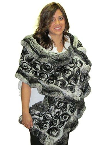 REX Chinchilla FursNewYork Extra große Rosette mit Rüschen und Schal -