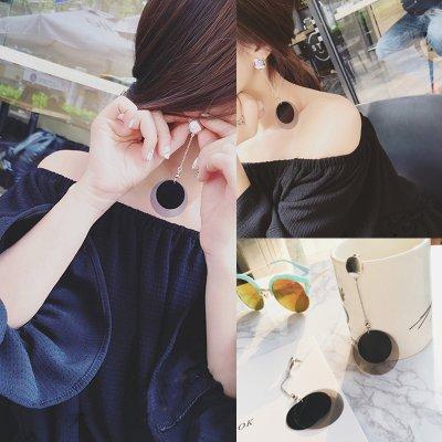 Kristall Mode Lange, Ohrschmuck Ohrringe weiblichen Temperament Anhänger Ohren ohr Nägel, schwarz double layer Discs ()