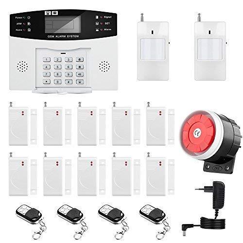 Sistema de Alarma GSM/SMS LCD Pantalla de Menú en Castellano Teclados Llamadas de 6 Teléfonos Diferentes Antirrobo Sistema de Seguridad para el Hogar, Oficina, Tienda, Pilas Incluidas