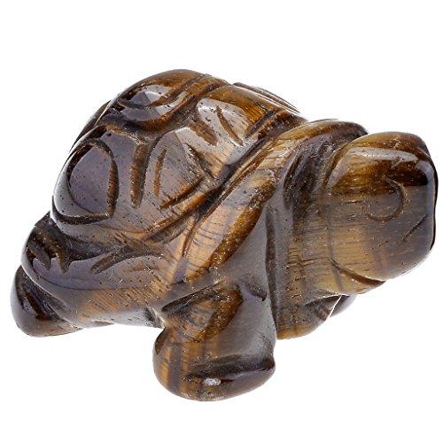 JOVIVI Dekoration,Reiki Edelstein Kristall Schildkroete Figur Ornamente Dekoration Tierplastik Deko Masse LBH:40x21x19mm(Tigerauge)