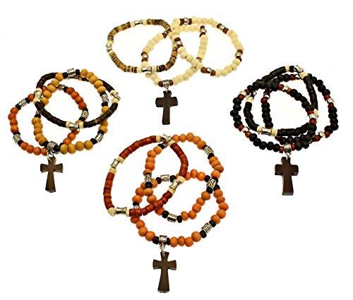 50 x confezione di braccialetti elastici 3 coco perline di legno heishi surfista stile - con croce di legno / crocifisso - vari colori.