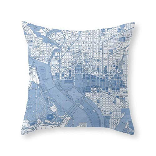 KLYDH Washington DC Map Throw Pillow Indoor Cover Decorative Square Individuality Pillow Case,Cover Size:16 x 16 Inch(40cm x 40cm)