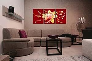 3 pièces traditionnels de style chinois, peinture chinoise, Lotus et poisson rouge Art mural et décoration de la maison, Giclee Moderne Impression sur toile prête à suspendre, chaque 40 x 50 cm, #01–YM - 90022ABC
