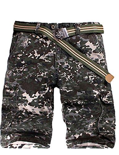 Menschwear Herren Vintage Cargo Shorts Bermuda Kurze Hose Sommer Kurze Hose (38, Multi militärin Grün)