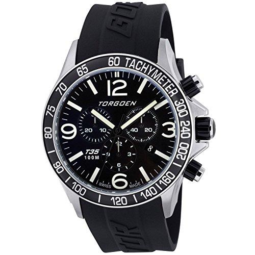 TORGOEN Swiss - T35301 - Montre Homme - Quartz Chronographe - Aigulles luminescentes/Chronomètre - Bracelet Plastique Noir