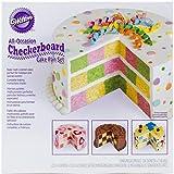 Wilton 2105-9961 Checkerboard Round Cake Set Backform, Aluminium, silber, 22.8 x 22.8 x 3.8 cm