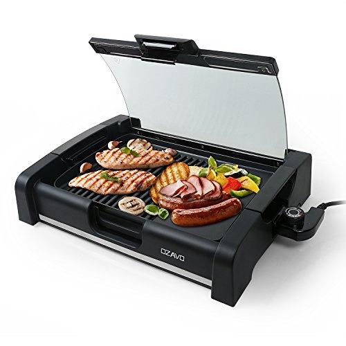 Ozavo bbq grill da tavolo coperchio in vetro, elettrico grill, barbecue elettrico griglia, piastra grill 1650 watt, termostato regolabile