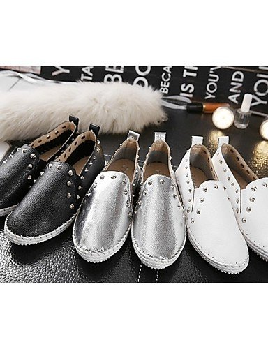 ZQ gyht Scarpe Donna Di pelle Plateau Comoda Mocassini Casual Nero/Bianco/Argento , white-us6.5-7 / eu37 / uk4.5-5 / cn37 , white-us6.5-7 / eu37 / uk4.5-5 / cn37 silver-us8 / eu39 / uk6 / cn39