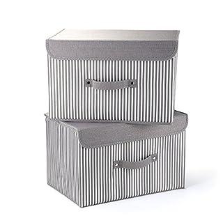 MEE'LIFE Boîtes de Rangement Set DE 2, paniers de Rangement en Tissu de Coton paniers avec Poignées et couvercles Organisation de blanchisserie Pliable conteneur (Bande Grise)